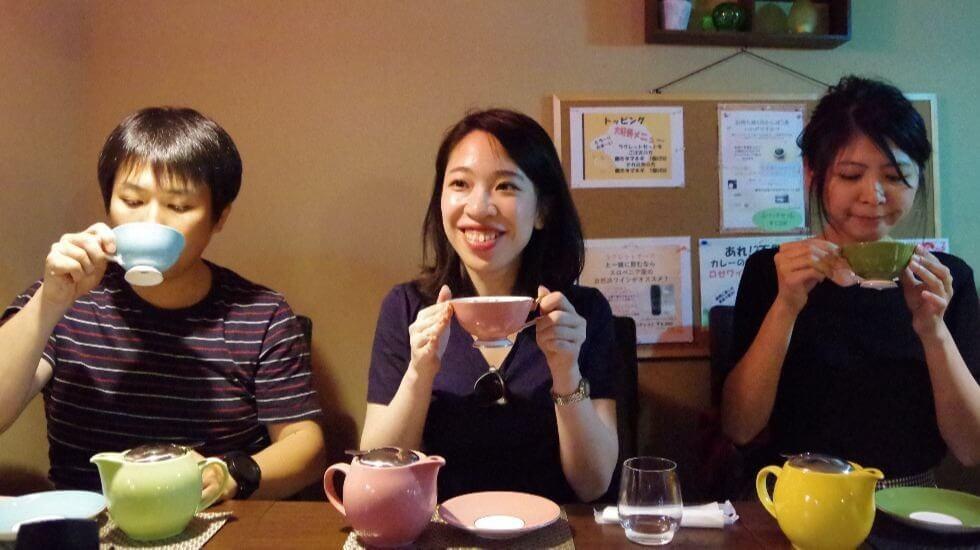 colourful tea cups
